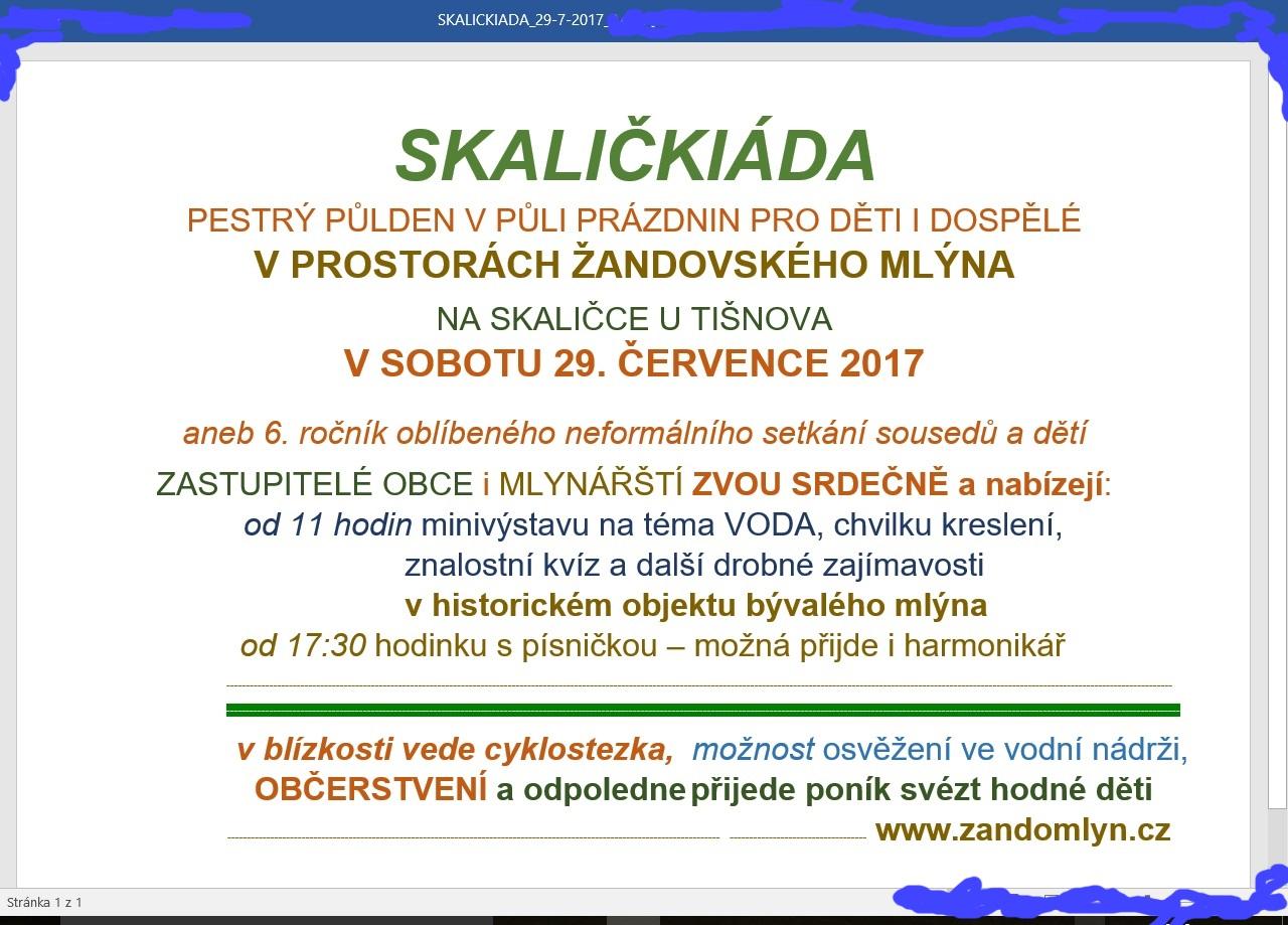 Pozvánka na 6. ročník Skaličkiády